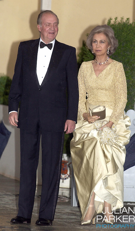 King Juan Carlos & Queen Sofia of Spain attend a Gala Dinner at the El Pardo Royal Palace in Madrid..Picture: UK Press