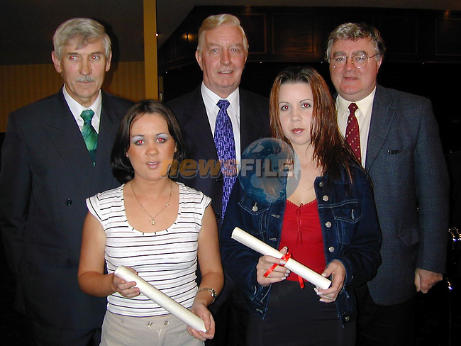 Janet Teelan and Olivia Smyth, Students of the Year with Jimmy Mulroy, Pat Carr and Aidan Gibney at the VEC awards night in the Boyne Valley Hotel..Picture Paul Mohan Newsfile