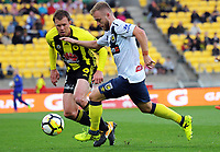 CCM's Connor Pain in action during the A-League football match between Wellington Phoenix and Central Coast Mariners at Westpac Stadium in Wellington, New Zealand on Saturday, 25 November 2017. Photo: Dave Lintott / lintottphoto.co.nz