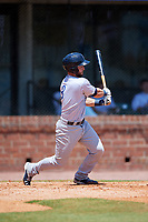 Pensacola Blue Wahoos catcher Joe Hudson (8) follows through on a swing during a game against the Mobile BayBears on April 26, 2017 at Hank Aaron Stadium in Mobile, Alabama.  Pensacola defeated Mobile 5-3.  (Mike Janes/Four Seam Images)