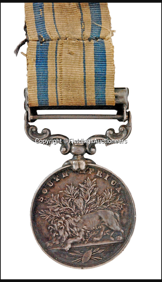 BNPS.co.uk (01202 558833)<br /> Pic: FieldingsAuctioneers/BNPS<br /> <br /> Private Joseph Bromwich's campaign medal sold for £50,000.<br /> <br /> A hero of the defence of Rorke's Drift that was immortalised by the Michael Caine film Zulu has finally been remembered after his pauper's grave was marked with a headstone.<br /> <br /> Private Joseph Bromwich was one of the 150 British soldiers who repelled 4,000 Zulu warriors attacking a British mission station in South Africa by accurately firing his rifle at them and engaging in hand-to-hand combat.<br /> <br /> Following his death in 1916 the military veteran was buried in an unmarked grave in a cemetery in Wolverhampton. Now his great-grandson has sold his ancestor's campaign medal to pay for a headstone.