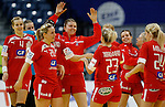 BELGRADE, SERBIA - DECEMBER 15:  Denmark handball team players celebrate victory against Russia after the Women's European Handball Championship 2012 fifth place match between Denmark and Russia at Arena Hall on December 15, 2012 in Belgrade, Serbia. (Photo by Srdjan Stevanovic/Getty Images)