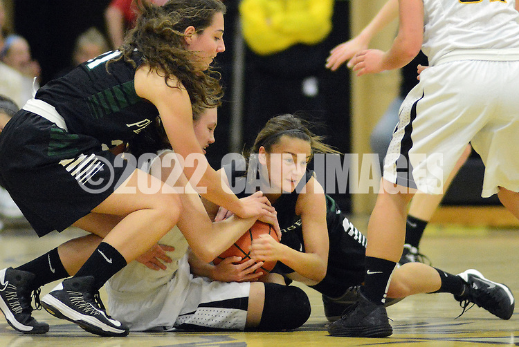 DOYLESTOWN, PA - DECEMBER 16: Central Bucks West's Nicole Munger #33 fights for a loose ball on the ground against Pennridge defenders third quarter of a game at Central Bucks West December 16, 2014 in Doylestown, Pennsylvania. (Photo by William Thomas Cain/Cain Images)