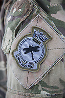 Squadron patch on a pilots' sleeve. <br /> <br /> In 2019 the Arctic exercise Clockwork passed 50 years of training in Norway, and now has a permanent base within the Norwegian Air Force base at Bardufoss. <br /> <br /> 845 Naval Air Squadron is a squadron of the Royal Navy's Fleet Air Arm. Part of the Commando Helicopter Force, it is a specialist amphibious unit operating the Leonardo Commando Merlin Mk3 helicopter and provides troop transport and load lifting support to 3 Commando Brigade Royal Marines.<br /> <br /> &copy;Fredrik Naumann/Felix Features