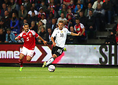 June 6th 2017, Brondby Stadium, in Brondby, Copenhagen, Denmark;  Germany's Joshua Kimmich (R) and Riza Durmisi from Denmark in action during the international  match between Denmark and Germany at the Brondby Stadium