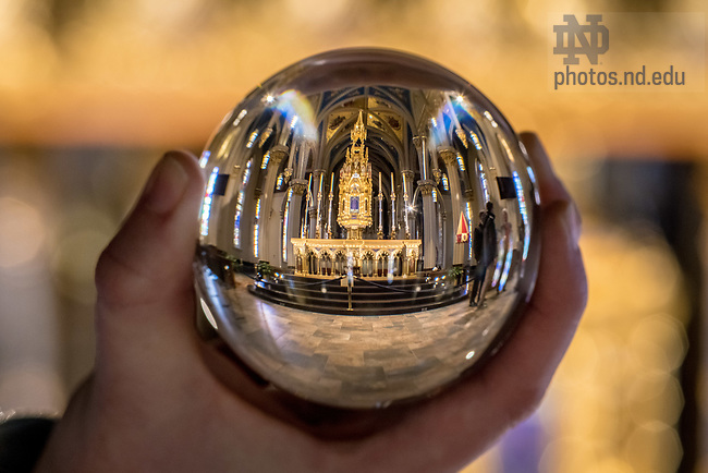 December 20, 2017; Basilica of the Sacred Heart refracted in a crystal ball. 12 of 12 (Photo by Matt Cashore/University of Notre Dame)