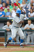 UCLA outfielder Brenton Allen (23) at bat during Game 1 of the 2013 Men's College World Series Finals against the Mississippi State Bulldogs on June 24, 2013 at TD Ameritrade Park in Omaha, Nebraska. The Bruins defeated the Bulldogs 3-1, taking a 1-0 lead in the best of 3 series. (Andrew Woolley/Four Seam Images)