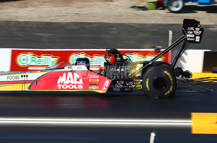 Nov 10, 2013; Pomona, CA, USA; NHRA top fuel dragster driver Doug Kalitta during the Auto Club Finals at Auto Club Raceway at Pomona. Mandatory Credit: Mark J. Rebilas-