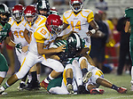 Torrance, CA 09/08/17 - Francisco Chavarin (Hawthorne #13), Poppy White (Hawthorne #28) and Denton Piccolo (South #23) in action during the Hawthorne vs South Torrance CIF-SS non-conference Varsity football game at South Torrance High School.
