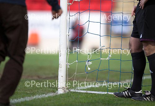 St Johnstone v Dundee United.....29.12.13   SPFL<br /> A hole in the nets after Stevie May's second goal<br /> Picture by Graeme Hart.<br /> Copyright Perthshire Picture Agency<br /> Tel: 01738 623350  Mobile: 07990 594431
