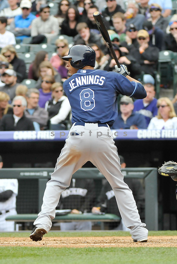 Tampa Bay Rays Desmond Jennings (8) during a game against the Colorado Rockies on May 5, 2013 at Coors Field in Denver, CO. The Rays beat the Rockies 8-3.