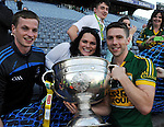 Kerry's marc O'Se celebrates with cousins Padraig Og and Neassa O'Se, (children of Paidi O'Se)  after Kerry's victory over Donegal in Croke Park on Sunday.<br /> Picture by Don MacMonagle