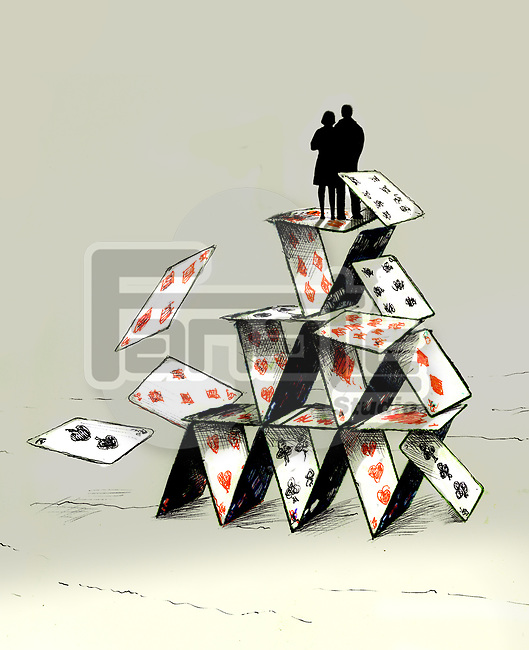 Concept image of a couple standing on a tumbling house of cards depicting unstability