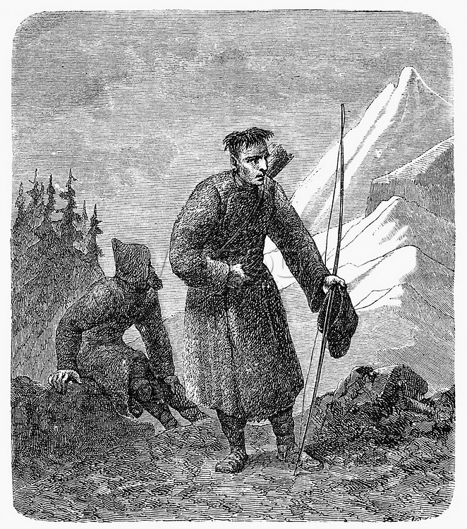 Old illustration depicting Samoyed people, Siberian indigenous, Russia. By unidentified author, publ. on Le Tour du Monde, Paris, 1862