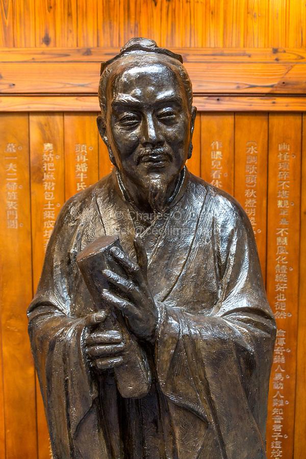 Wenzhou, Zhejiang, China.  Statue of Gao Zecheng, Creator of Southern Chinese Opera, Southern Opera Museum.