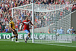 LONDON, ENGLAND - MAY 12: York City's Matty Blair scores the opening goal for York City in the FA Carlsberg Trophy Final between York City and Newport County at Wembley Stadium on May 12, 2012 in London, England. (Photo by Dave Horn - Extreme Aperture Photography)