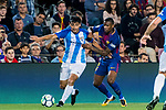 Chory Castro (l) of Malaga CF fights for the ball with Nelson Cabral Semedo of FC Barcelona during the La Liga 2017-18 match between FC Barcelona and Malaga CF at Camp Nou on 21 October 2017 in Barcelona, Spain. Photo by Vicens Gimenez / Power Sport Images