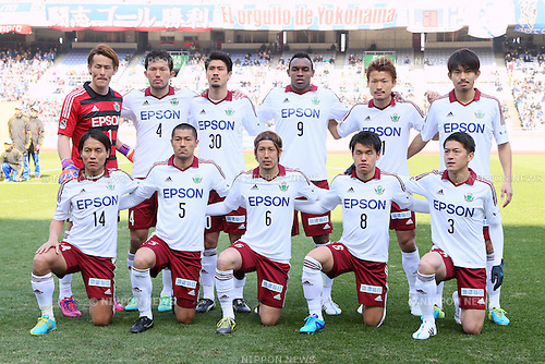 Matsumoto Yamaga FC team group line-up, <br /> FEBRUARY 21, 2015 - Football / Soccer :<br /> 2015 J.League Pre-season match between <br /> Yokohama F Marinos 0-1 Matsumoto Yamaga FC <br /> at Nissan Stadium in Kanagawa, Japan. <br /> (Photo by Yohei Osada/AFLO SPORT) [1156]
