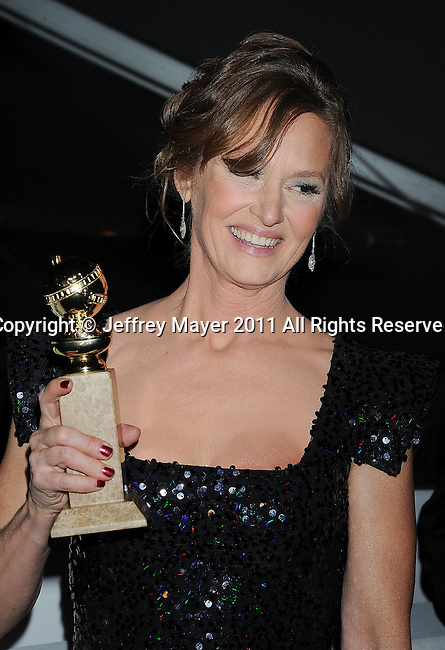 BEVERLY HILLS, CA - January 16: Melissa Leo arrives at The Weinstein Company and Relativity Media's 2011 Golden Globe After Party presented by Marie Claire held at BAR 210 - The Beverly Hilton Hotel on January 16, 2011 in Beverly Hills, California.