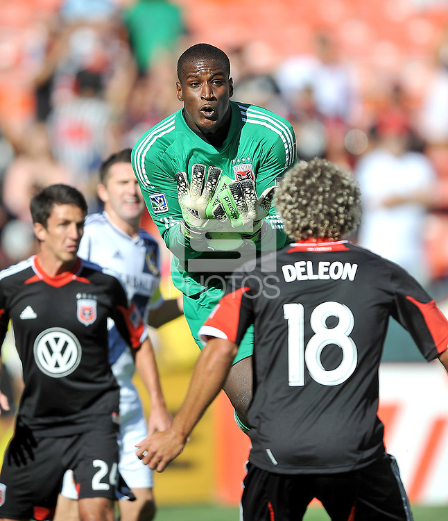 Bill Hamid (28) of D.C. United goes up to make a save during the game.  D.C. United tied the Los Angeles Galaxy 2-2, at RFK Stadium, Saturday September 14 , 2013.