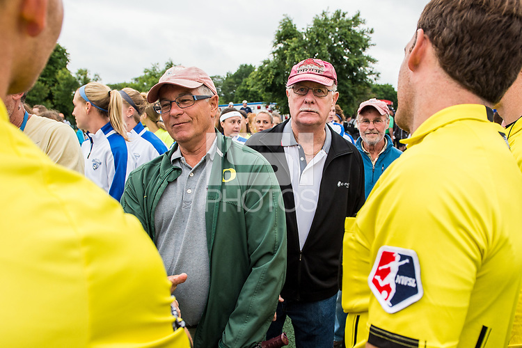 Boston, MA - Friday July 07, 2017: Tony DiCicco's former teammates greet the match officials prior to a regular season National Women's Soccer League (NWSL) match between the Boston Breakers and the Chicago Red Stars at Jordan Field.