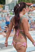 Noemi Szidol attends the Miss Bikini Hungary beauty contest held in Budapest, Hungary on August 06, 2011. ATTILA VOLGYI