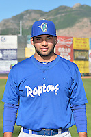 Julian Leon (34) of the Ogden Raptors poses for a photo during media day on June 14, 2014 at Lindquist Field in Ogden, Utah. (Stephen Smith/Four Seam Images)