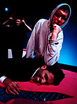 INTO THE MYSTIC by Wolf;<br /> Simon Startin;<br /> Jeni Draper;<br /> Amit Sharma;<br /> Directed by Sealey;<br /> Graeae Theatre Company;<br /> at Riverside Studios, London, UK;<br /> 2 February 2001;<br /> Credit: Patrick Baldwin;