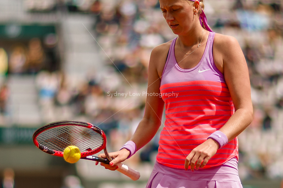 May 28, 2015: Petra KVITOVA of Czech Republic in action in a 2nd round match against Silvia SOLER-ESPINOSA of Spain on day five of the 2015 French Open tennis tournament at Roland Garros in Paris, France. Sydney Low/AsteriskImages