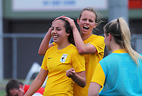 Capital players celebrate winning the 2018-19 National Women's League football match between Capital and Canterbury at Memorial Park in Petone, Wellington, New Zealand on Saturday, 1 December 2018. Photo: Dave Lintott / lintottphoto.co.nz