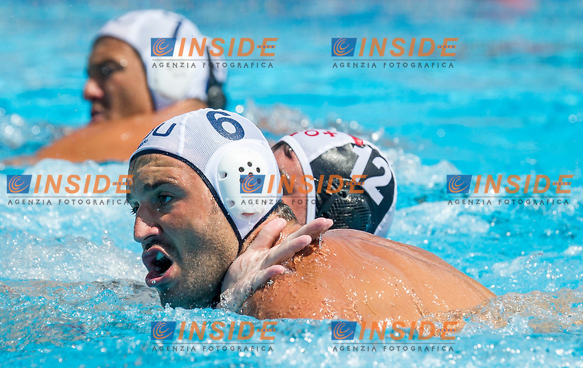 6  BUSILA Dan Andrei ROU<br /> 12 FRANICEVIC Marino GEO<br /> Romania (White) Vs Georgia (Black)<br /> ROU-GEO<br /> LEN European Water Polo Championships 2014<br /> Alfred Hajos -Tamas Szechy Swimming Complex<br /> Margitsziget - Margaret Island<br /> Day01 - July 14 <br /> Photo Pasquale Mesiano/Inside/