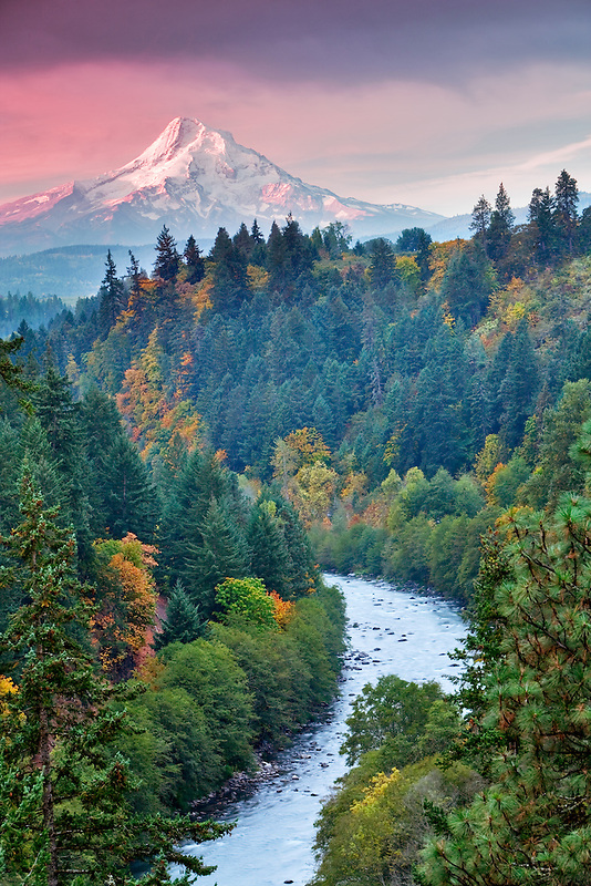 View of Mt. hood, and Hood River with fall color. Oregon