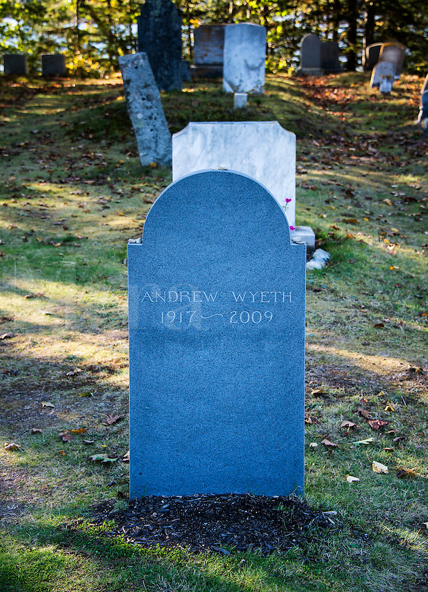 Burial site of American artist Andrew Wyeth, Cushing, Maine, USA