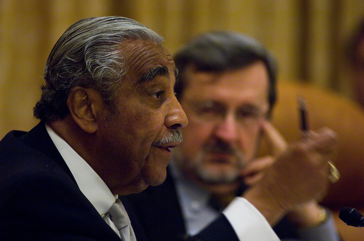 WASHINGTON, DC - Jan. 07: House Ways and Means Chairman Charles B. Rangel, D-N.Y., and House Appropriations Chairman David R. Obey, D-Wis., during the House Democratic Steering and Policy Committee hearing on economic recovery legislation. (Photo by Scott J. Ferrell/Congressional Quarterly)