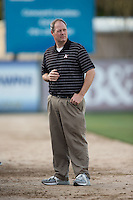 Kannapolis Intimidators General Manager Randy Long at work prior to the South Atlantic League game against the Hickory Crawdads at Kannapolis Intimidators Stadium on April 7, 2016 in Kannapolis, North Carolina.  The Crawdads defeated the Intimidators 5-1.  (Brian Westerholt/Four Seam Images)