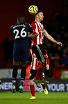Enda Stevens of Sheffield Utd  and Arthur Masuaka of West Ham United during the Premier League match at Bramall Lane, Sheffield. Picture date: 10th January 2020. Picture credit should read: Simon Bellis/Sportimage