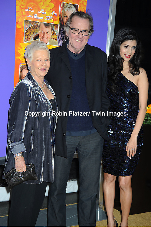 """Dame Judi Dench, Tom Wilkinson and Tena Desae attend the New York Premiere of """" The Best Exotic Marigold Hotel"""" on April 23, 2012 at The Ziegfeld Theatre in New York City. Dame Judi Dench, Tom Wilkinson and Tena Desae are the stars of the movie."""