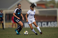 Sanford, FL - Saturday Oct. 14, 2017:  A Pride player turns away from pressure during a US Soccer Girls' Development Academy match between Orlando Pride and NC Courage at Seminole Soccer Complex. The Courage defeated the Pride 3-1.