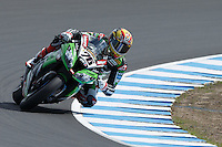 Loris Baz (FRA) riding the Kawasaki ZX-10R (76) of the Kawasaki Racing Team rounds turn 6 during a qualifying session on day one of round one of the 2013 FIM World Superbike Championship at Phillip Island, Australia.