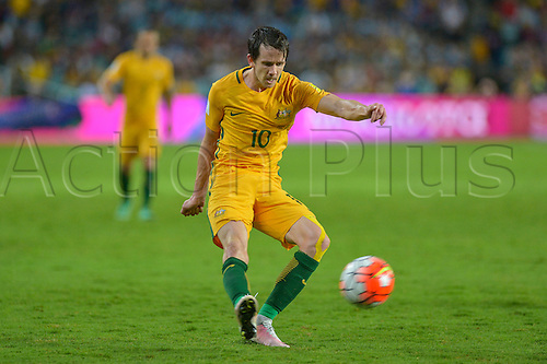 29.03.2016. Allianz Stadium, Sydney, Australia. Football 2018 World Cup Qualification match Australia versus Jordan. Australian forward Robbie Kruse gets in a cross. Australia won 5-1.