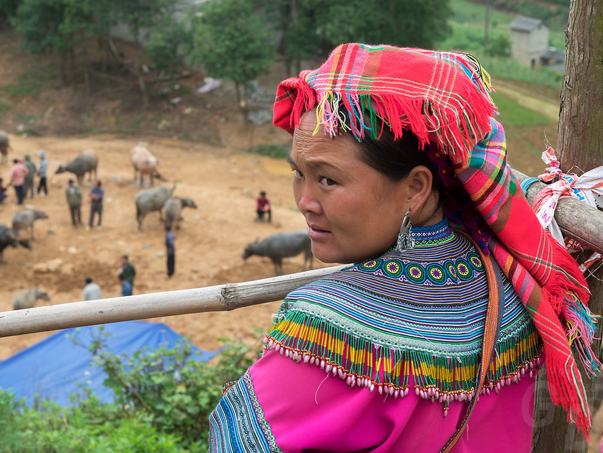 Ethnic minority Hill tribes, the Flower Hmong and Black Hmong from Northern Vietnam near the Chinese Border at Lao Cai, Bac Ha and Can Cau.