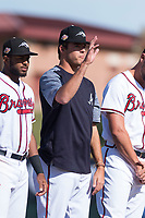 Peoria Javelinas pitcher Jeremy Walker (58), of the Atlanta Braves organization, during player introductions before the Arizona Fall League Championship game against the Salt River Rafters at Scottsdale Stadium on November 17, 2018 in Scottsdale, Arizona. Peoria defeated Salt River 3-2 in 10 innings. (Zachary Lucy/Four Seam Images)
