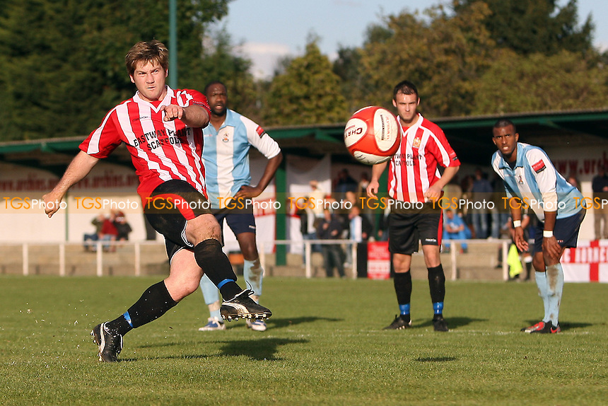 Tommy Black of Hornchurch misses from the penalty spot - AFC Hornchurch vs Brentwood Town - Ryman League Premier Division Football at The Stadium - 16/10/10 - MANDATORY CREDIT: Gavin Ellis/TGSPHOTO - Self billing applies where appropriate - Tel: 0845 094 6026