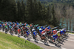 April 19th 2017, Villabassa / Niederdorf, Italy; UCI Tour of the Alps mens cycling tour, stage 3; Peloton and riders on their way.