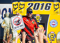 Nov 13, 2016; Pomona, CA, USA; NHRA funny car driver Cruz Pedregon during the Auto Club Finals at Auto Club Raceway at Pomona. Mandatory Credit: Mark J. Rebilas-USA TODAY Sports