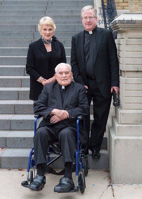Oct. 13, 2014; Rev. Theodore M. Hesburgh, C.S.C., Melanie Chapleau and Rev. Austin Collins, C.S.C.  (Photo by Matt Cashore/University of Notre Dame)