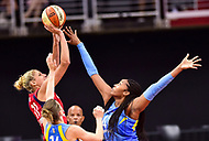 Washington, DC - July 13, 2018: Washington Mystics guard Elena Delle Donne (11) shots a jump shot over Chicago Sky center Alaina Coates (41) during game between the Washington Mystics and Chicago Sky at the Capital One Arena in Washington, DC. The Mystics defeat the Sky 88-72 (Photo by Phil Peters/Media Images International)