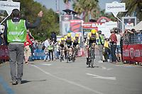 Team LottoNL-Jumbo finishing the opening TTT<br /> <br /> 2015 Giro<br /> finish zone of stage 1: San Lorenzo Al Mare - San remo (TTT/17.6km)