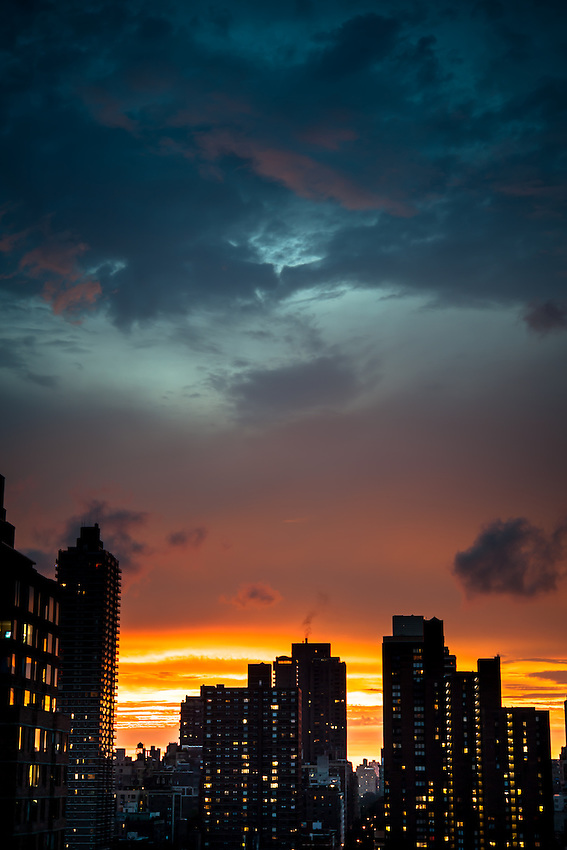 Colorful sunset over the Upper East Side of Manhattan.