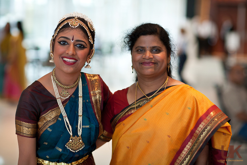 Suchitra with her friends at the Eisemann Center after her Arangetram.